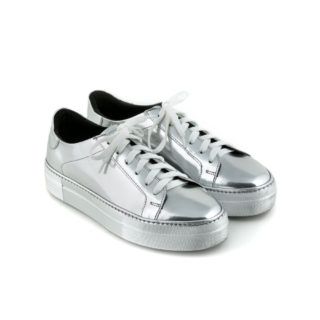 Sneaker with lace silver mirror