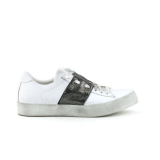 Sneaker leather with lace white gray