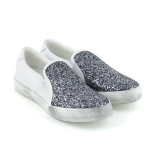 sneakers slip on white silver glitter